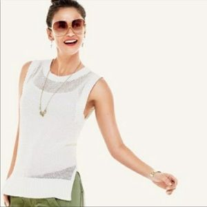 Cabi Limited Edition White Summer Knit Vest Top